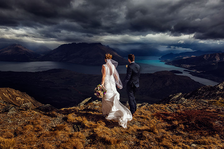 Mountain Wedding on The Remarkables in Queenstown on a moody day