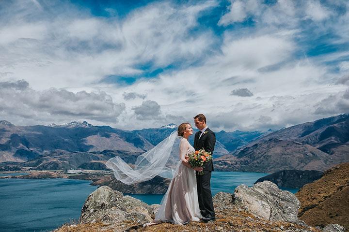 Wanaka Mountain Weddings,Mountain Wedding on Stevensons Arm in Wanaka New Zealand