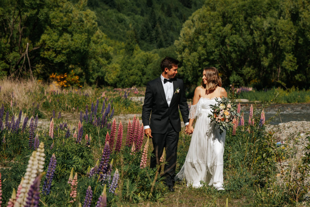 Arrowtown Wedding among the lupins