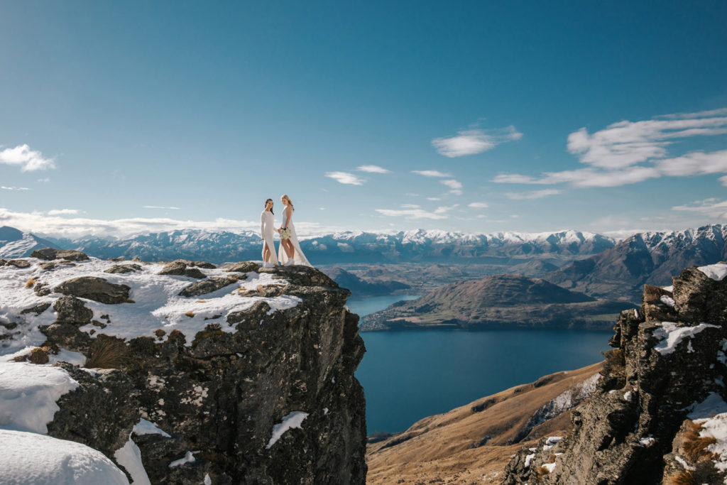 Same Sex mountain wedding on The Ledge in Queenstown